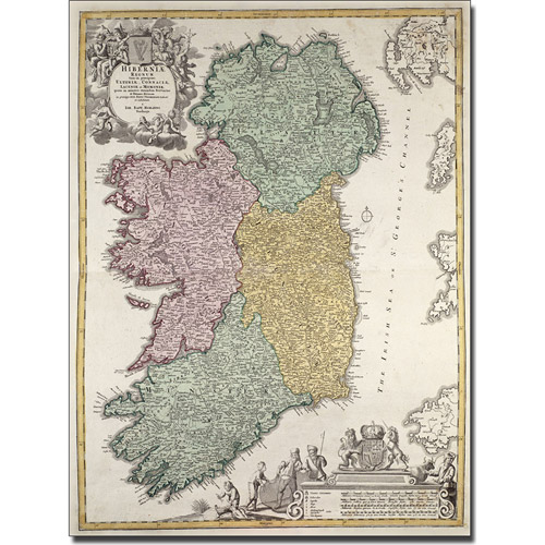 Trademark Art 'Map of Ireland, 1730' Canvas Art by Johann B. Homann