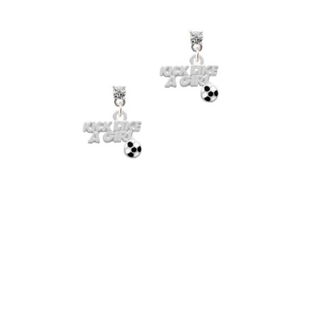 Crystal Like - Silvertone Kick Like a Girl with Enamel Soccer Ball Clear Crystal Post Earrings