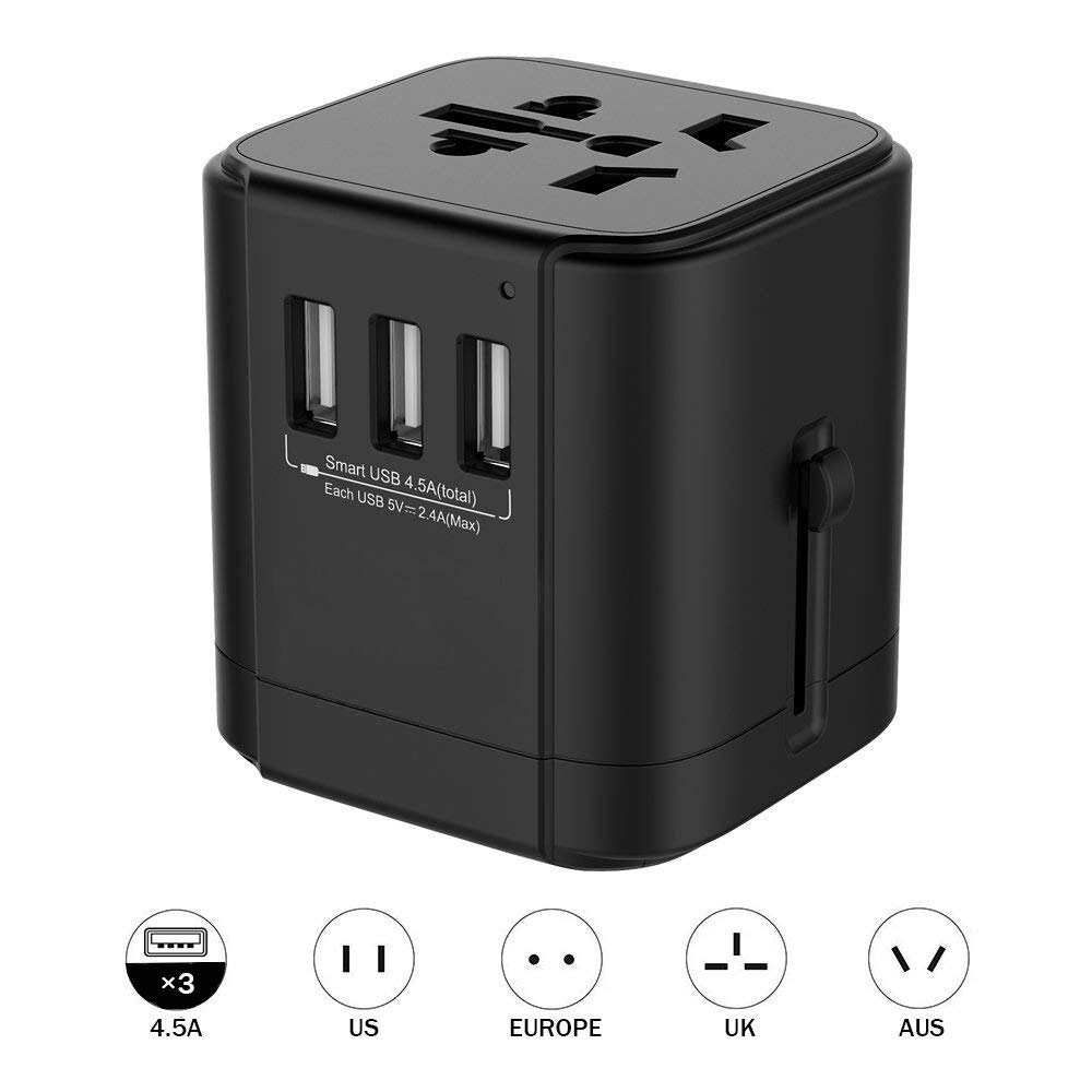 Travel Adapter Universal Travel Adapter 3-Ports USB Charger AC Power AU UK US EU Plug  Surge Protector Travel Adapter,All-in-1