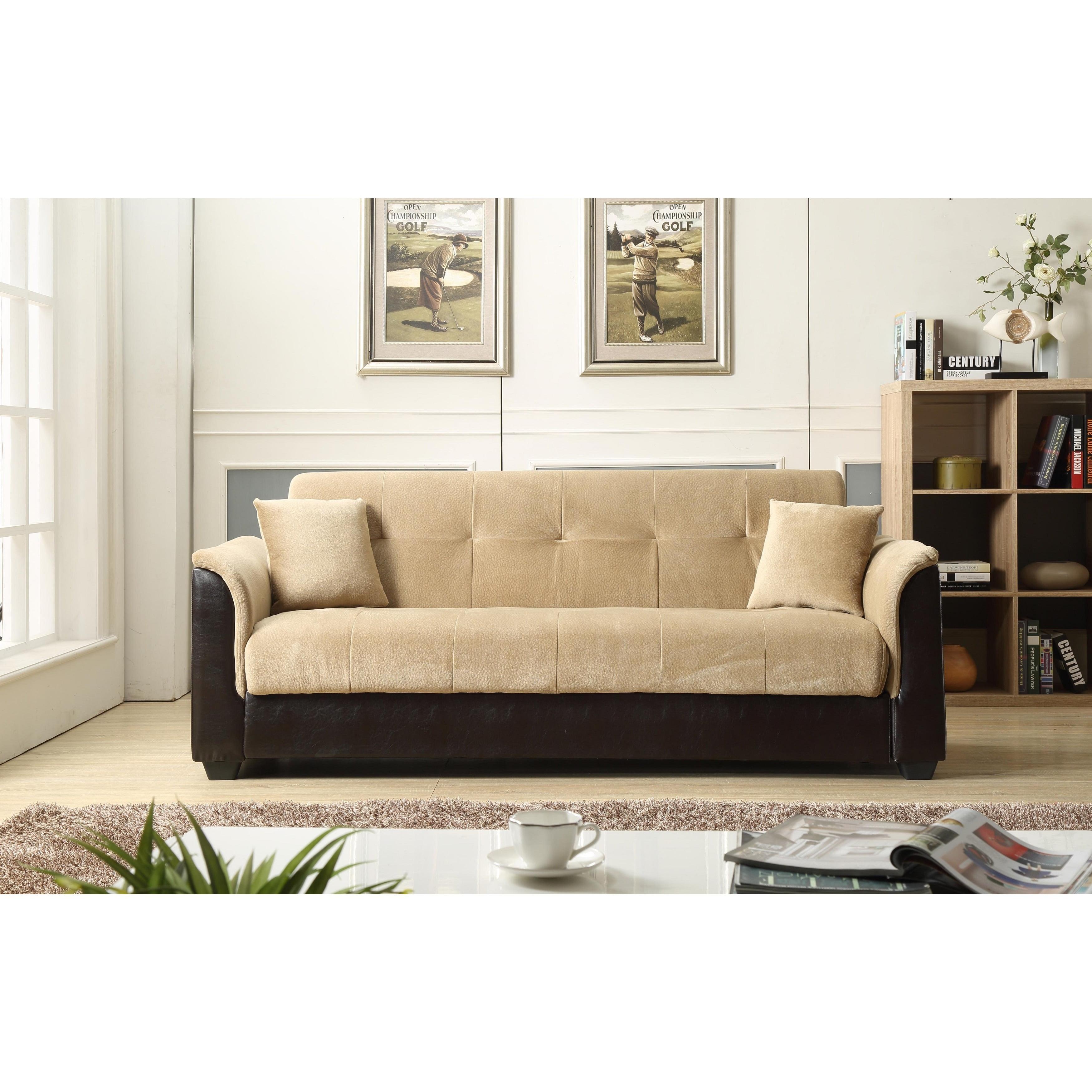Nhi Express Melanie Futon Sofa Bed With Storage Brown Walmart Com