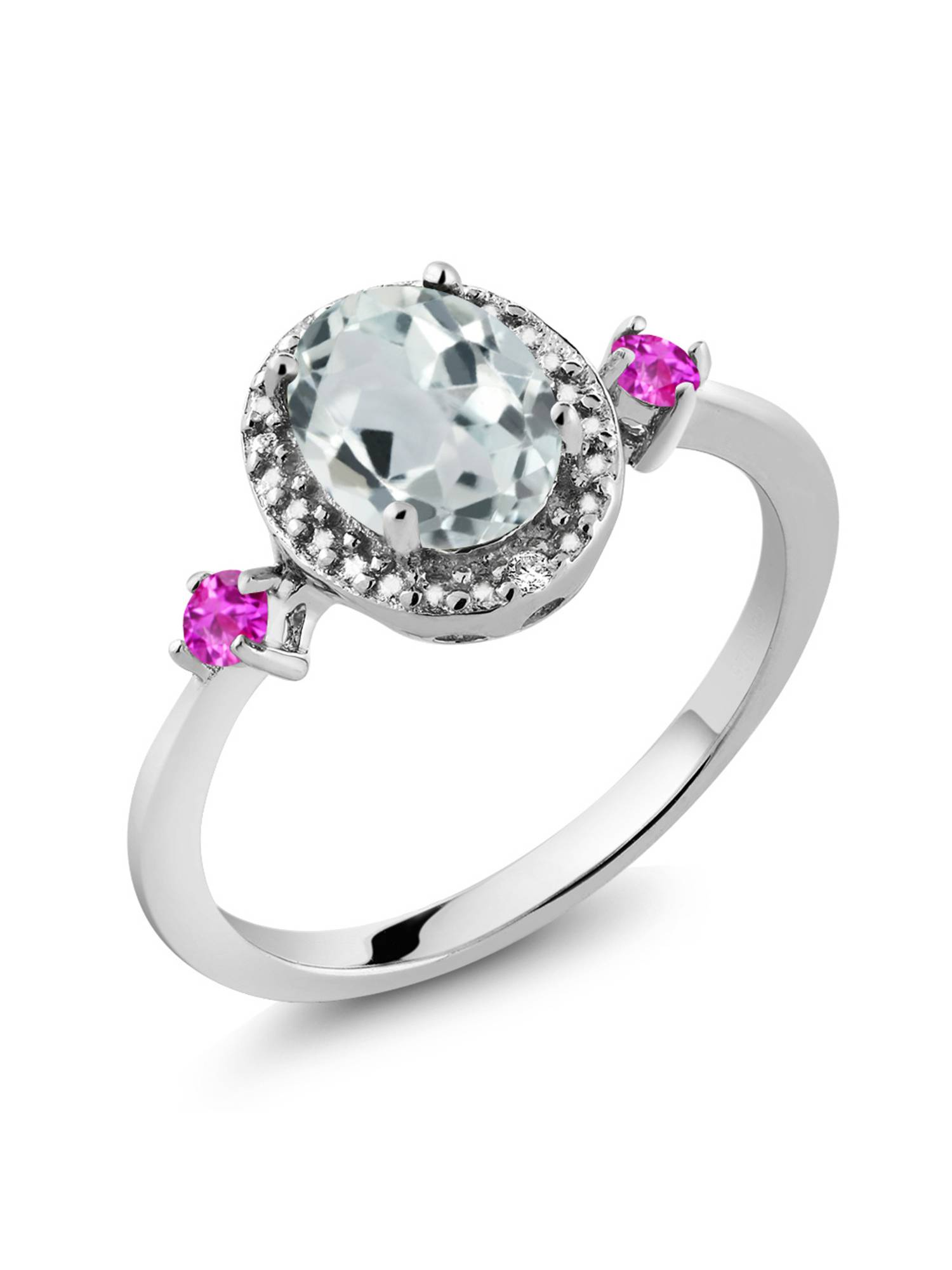1.27 Ct Oval Sky Blue Aquamarine Pink Sapphire 925 Sterling Silver Ring by