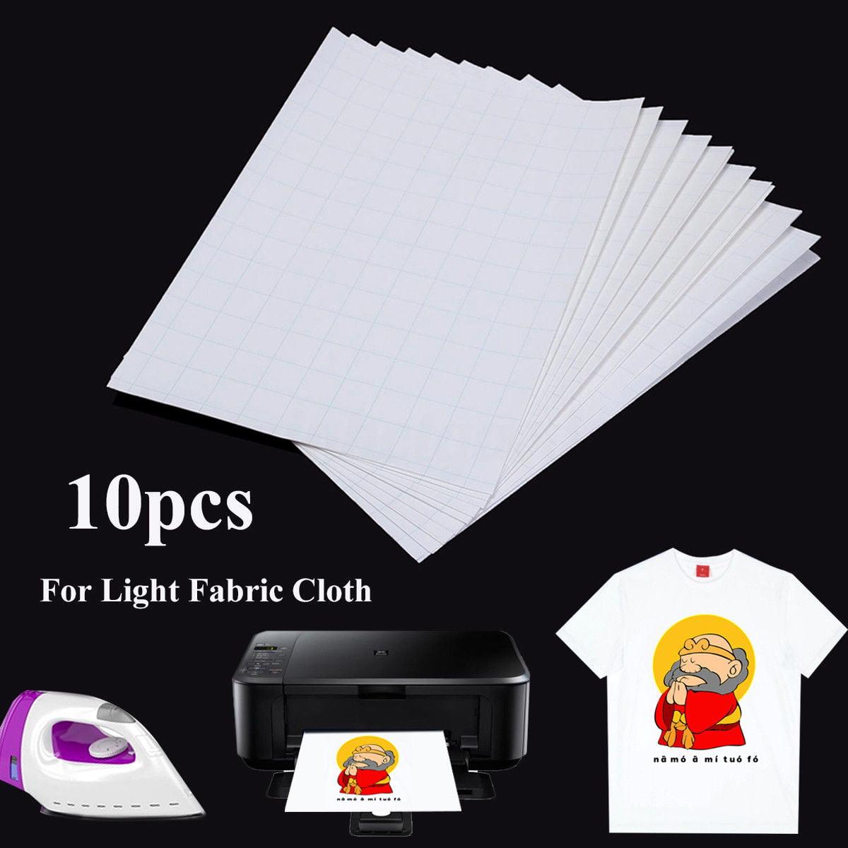 10Pcs A4 Iron On Inkjet Print Heat Press Transfer Paper Light Fabric T-Shirt