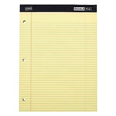 Staples Double Pad, Yellow, Wide Ruled with 3-Hole Punch, 6/Pack (18581) 3 Hole Dual Pad