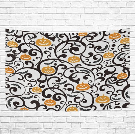 Art Floral Pour Halloween (POPCreation Home Decor Collection, Happy Halloween Pumpkin Damask Floral Wall Art Polyester Tapestry Wall Hanging Art 40x60)