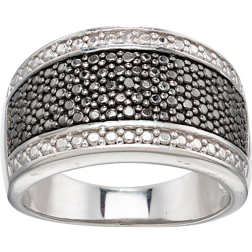Black and White CZ Accent Sterling Silver Band Ring