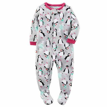 de553028f Carters Girls 1 Piece Footed Sleeper Zip Up Fleece Pajama (Grey ...