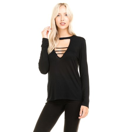 Kaylee_xo Sexy Women Long Sleeve Relaxed Caged Strappy Solid Blouse Shirt Top