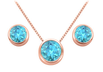 December Birthstone Blue Topaz Pendant and Stud Earrings Set in 14K Rose Gold Vermeil by Love Bright