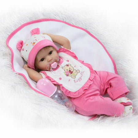 Reborn Baby Doll Soft Silicone 18inch 45cm Magnetic Lovely Lifelike Cute Lovely Baby Pink suit baby