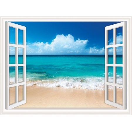 Window Views Peel & Stick Wall Decal: Ocean Beach with Fluffy Clouds in Sky (36 in x 27 in) (Stick Figure Window Decals)