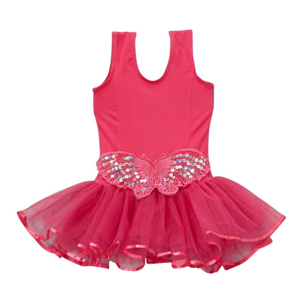 Girls Hot Pink Butterfly Applique Skirted Dance Leotard 12M-10