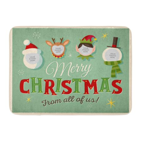GODPOK 1950 Green Funny Family Spirit Christmas Place Your Photos on Characters Elf 1960 Rug Doormat Bath Mat 23.6x15.7 inch