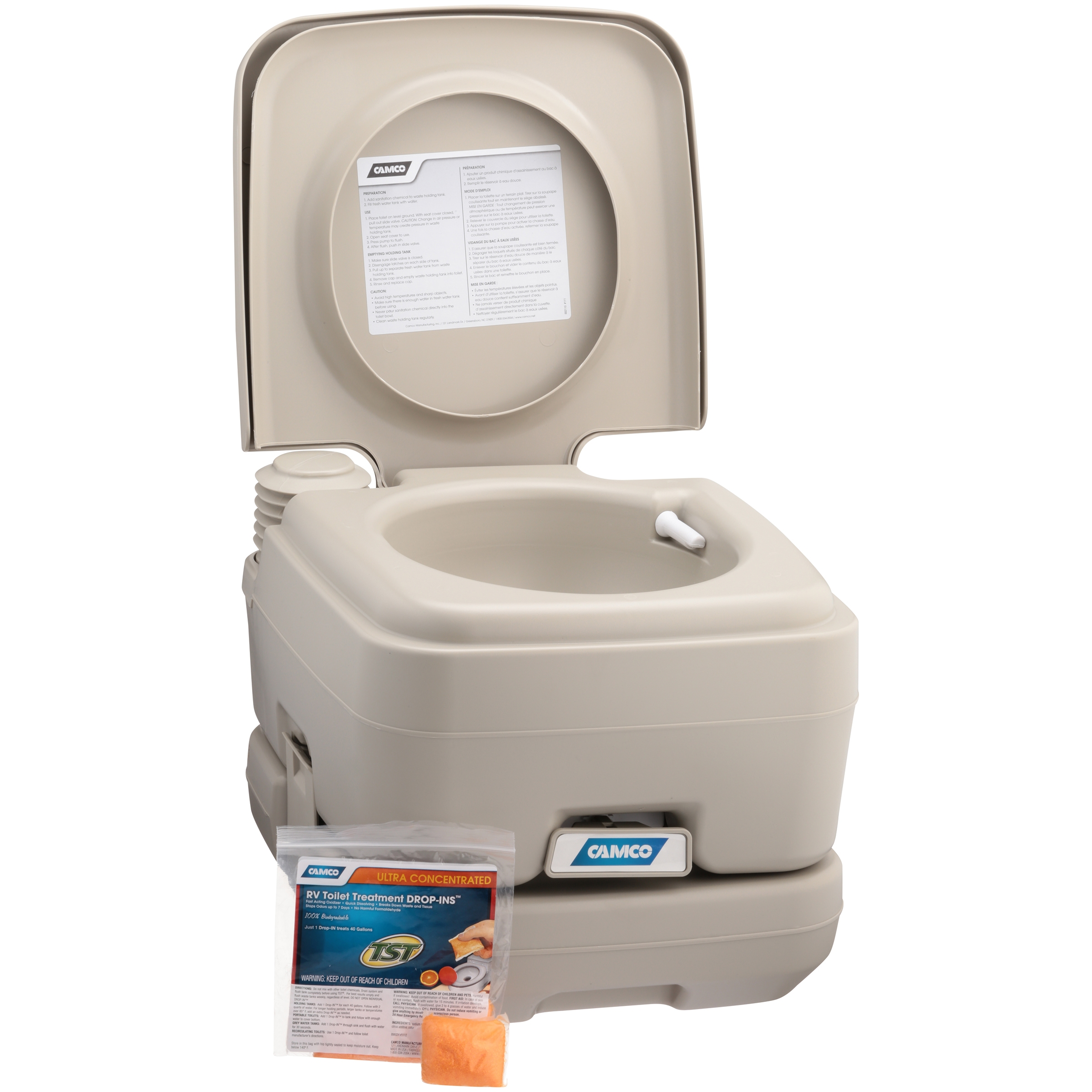 Camco Portable Toilet with RV Toilet Treatment DROP-INS