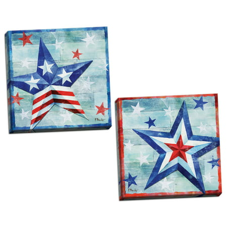 Gango Home Decor Modern Distressed Patriotic America Decor |Red, White & Blue Freedom Star by Paul Brent (Ready to Hang); Two 12x12in Hand-Stretched Canvases