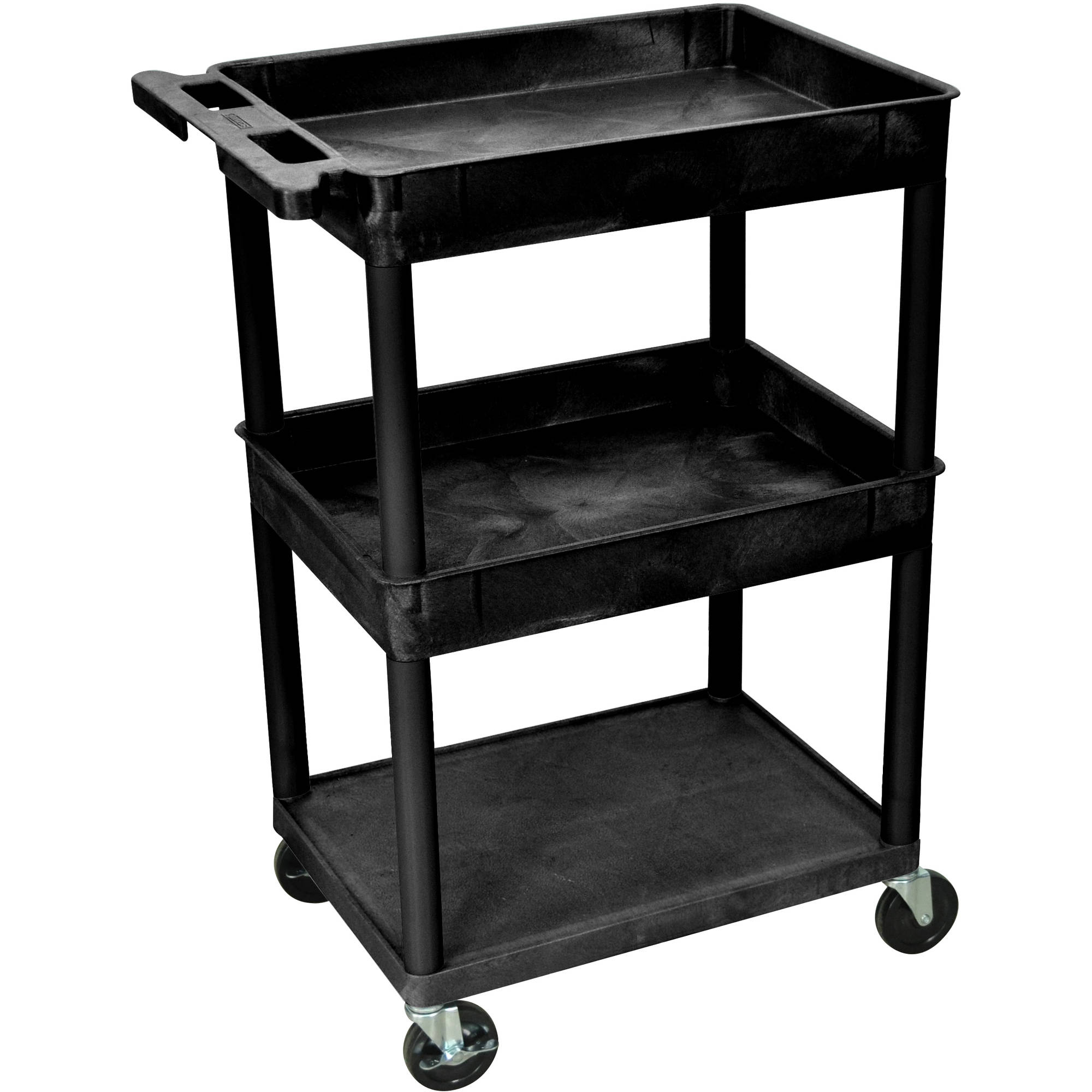 Luxor Top and Middle Tub Shelf and Flat Bottom Shelf Cart