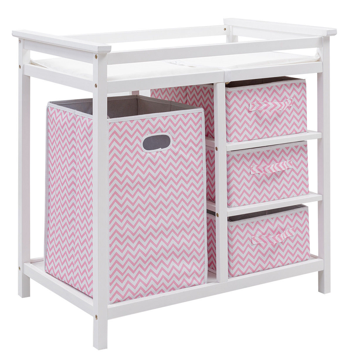 Costway Pink Infant Baby Changing Table w 3 Basket Hamper Diaper Storage Nursery by costway