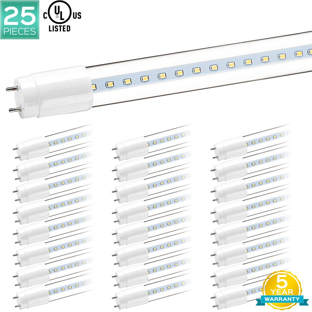 25-Pack Luxrite T8 LED Light Bulbs, 4FT Tubes, 32W Direct Replacement, 3000K (Soft White), 1900 Lumens, G13 LED Base, Clear Cover, 18W T8 LED Tube, UL Listed