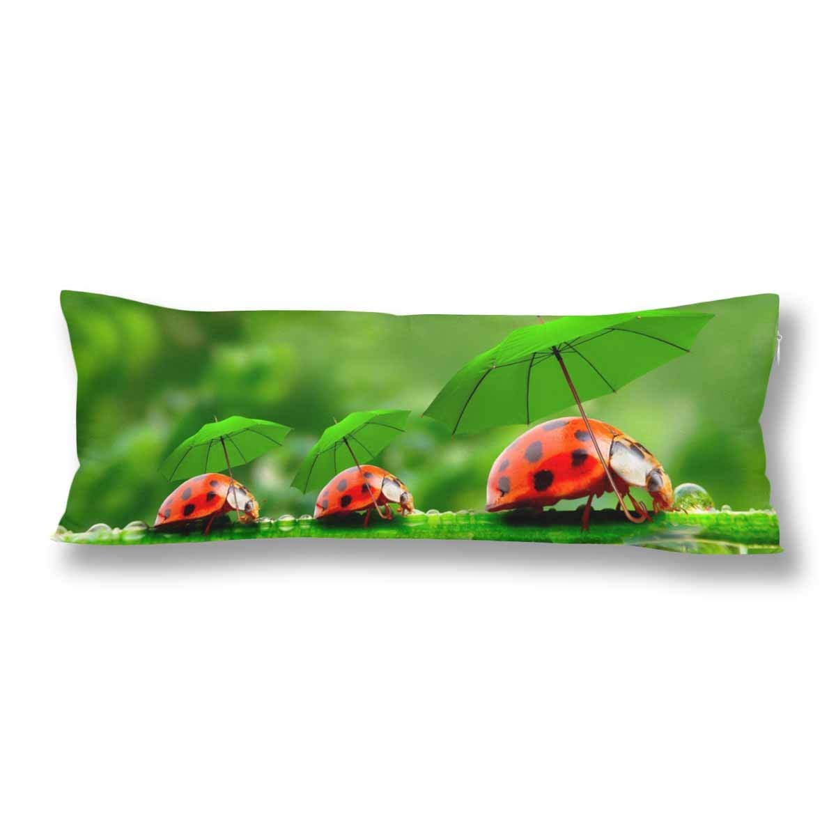 GCKG Nature Ladybugs With Umbrella On Grass Body Pillow Covers Pillowcase 20x60 inches, Ladybird Body Pillow Case Protector - image 2 de 2