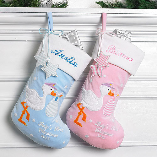 Personalized Baby's First Christmas Stork Stocking