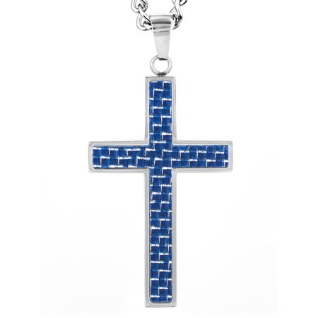 Blue Carbon Fiber and Polished Stainless Steel Cross Pendant