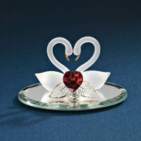 Swan Pair Red Heart Glass Figurine Glas Baron Love