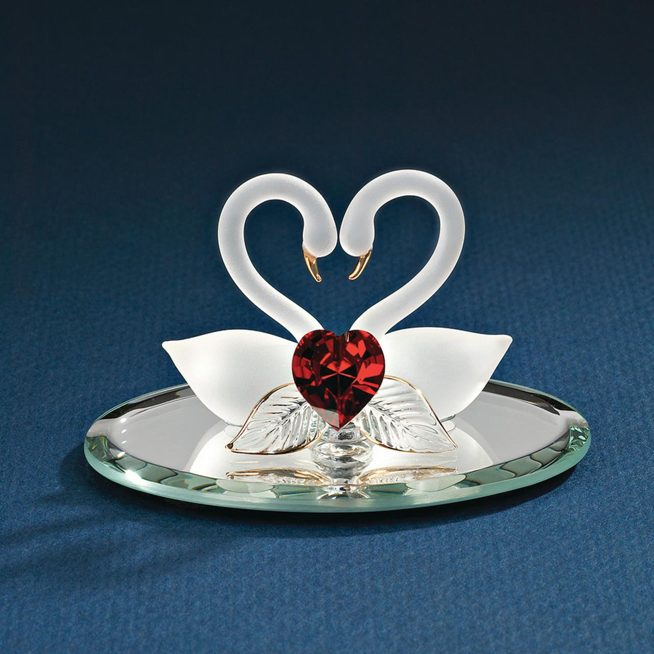 Swan Pair Red Heart Glass Figurine Glas Baron Love For Women