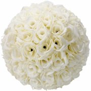 "10"" Artificial Flower Pomander Kissing Balls, Hanging Silk Rose Flower Ball for Wedding Party Birthday Decor (10 Pack)"