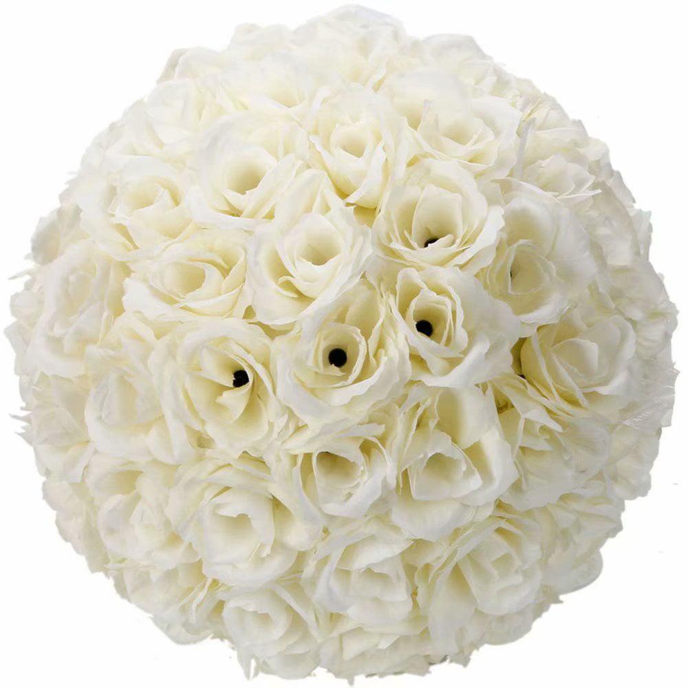 "10"" Artificial Flower Pomander Kissing Balls, Hanging Silk Rose Flower Ball for Wedding Party Birthday Decor (10 Pack)"
