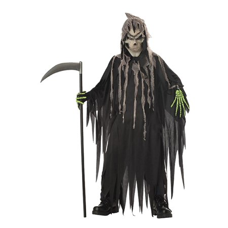 Boys Mr. Grim Reaper Halloween Costume Robe Hood Mask & Printed Gloves (Grim Reaper Boys Costume)