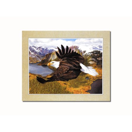 American Bald Eagle Pictures (American Bald Eagle in Flight over Mountains Wall Picture 8x10 Art Print )