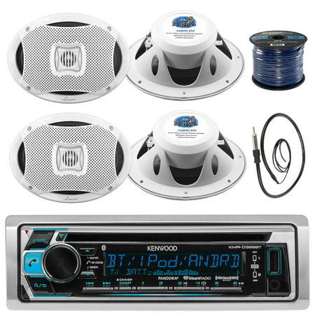 Kenwood KMRD372BT In-Dash Marine Boat Audio Bluetooth CD Player Receiver Bundle Combo With 4x 500 Watts 6X9-Inch 2-Way Marine White Coaxial Speakers + Radio Antenna + 16g 50FT Marine Speaker (White 16g Wire)