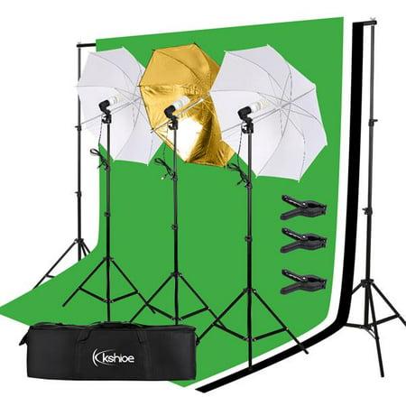 Tebru 45W Photo Photography Umbrella Lighting Kit Studio Light Bulb Non-Woven Fabric Backdrop Stand, white umbrella lamp,Photography umbrella lighting kit