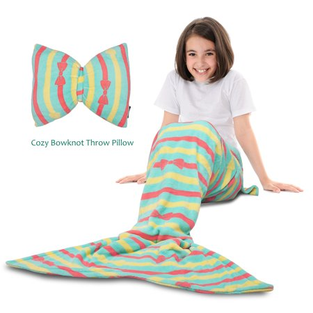 - Mermaid Tail Blanket - Super Soft Fannel Fleece Snuggle Sleeping Bag Mermaid Blanket Set for Kids Girls Ages 3-12, Bowknot Pillow Included, Tirrinia