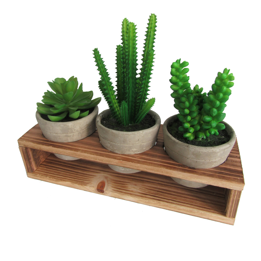 Assorted Decorative Artificial Succulents Fake Plants Potted in Gray Cement Pots, Small Green Plastic Faux Succulents,Set of 4