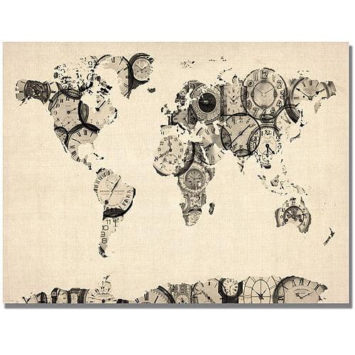"Trademark Art ""Old Clocks World Map"" Canvas Art by Michael Tompsett"