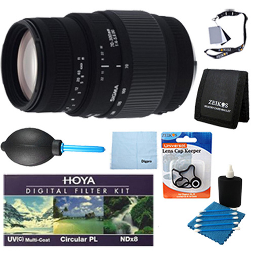 Sigma 70-300mm f/4-5.6 DG Macro Telephoto Zoom Lens for Nikon SLR Cameras With Cleaning Kit, Flash Bracket, Micro Fiber Cleaning Cloth, Card Wallet, Hoya UV Filter!, Lens Cap Cleaner and more!