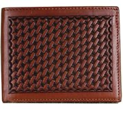 Angel Ranch DAW81 Mens Wallet Leather Bifold Basket Weave Hand-Tooled, Brown