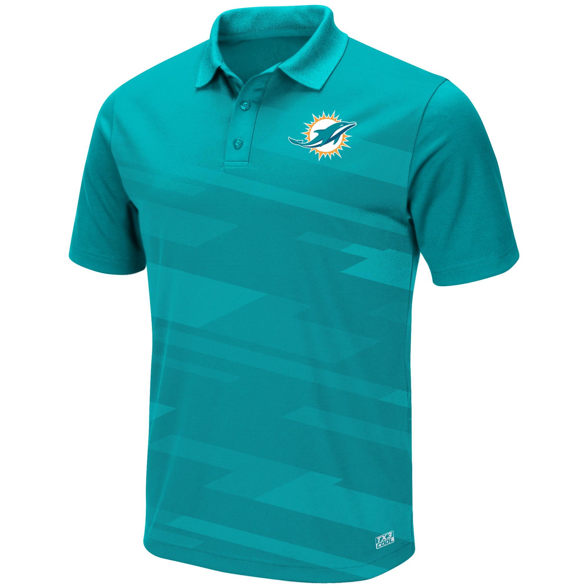 Men's Majestic Aqua Miami Dolphins Big Hit TX3 Polo