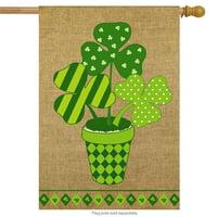 """Potted Shamrock Burlap St. Patrick's Day House Flag 28"""" x 40"""" Briarwood Lane"""