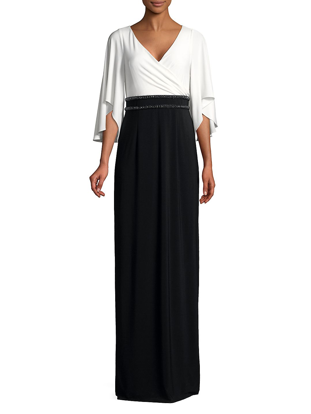 Quarter-Sleeve Jersey Long Dress