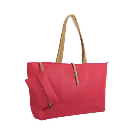 Women Contrast-Colored Handles Textured Faux Leather Tote w Pouch