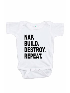7 ate 9 Apparel Funny Kids Nap. Build. Destroy. Onepiece - 12-18 Month Onepiece