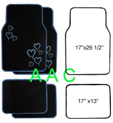 A Set of 4 Universal Fit Plush Carpet Floor Mats for Cars   Truck Hearts Blue by LavoHome