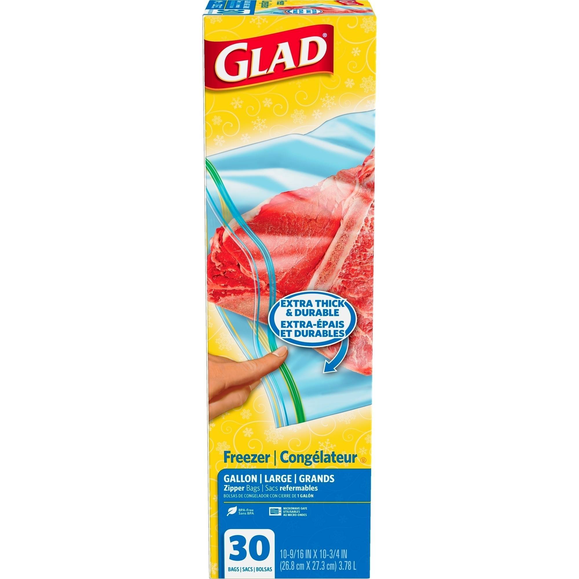 Glad Freezer Zipper Food Storage Bags, Gallon, 30 count