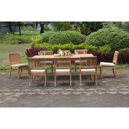 Teak Dining Set 8 Seater 9 Pc 117 Double Extensions Rectangle