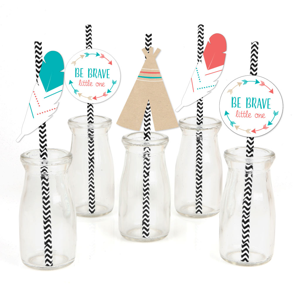 Be Brave Little One Paper Straw Decor - Boho Tribal Baby Shower or Birthday Party Striped Decorative Straws - Set of 24