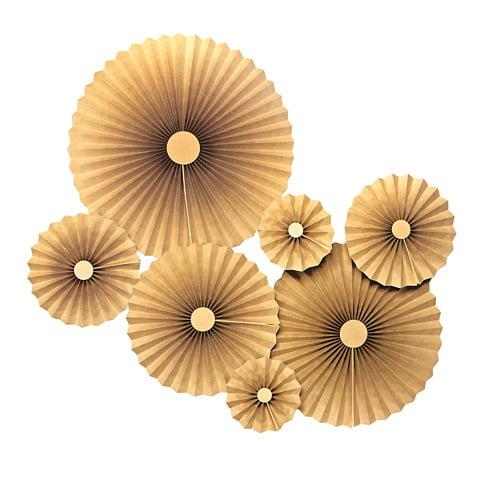 Darice Metallic Gold Paper Rosettes Kit, Assorted Sizes, 7pcs