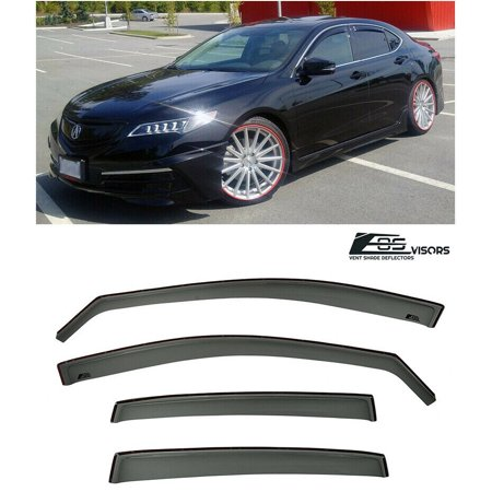 Extreme Online Store for 2015-Present Acura TLX TL-X | EOS Visors in-Channel Style Smoke Tinted Side Vent Window Deflectors Rain Guard ()