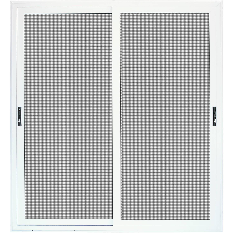 "Titan Security Surface Mount Sliding Patio Aluminum Meshtec Security Screen Door, White, 72"" x 80"