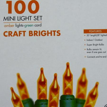 Sierra 100 Mini Amber Lights with Green Wire Orange Halloween String Light covid 19 (100 Amber Mini coronavirus)